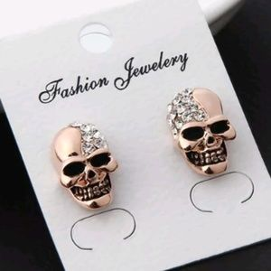 Sugar skull  gold plated hypo allergenic earrings